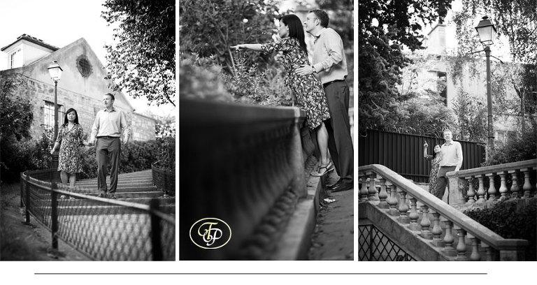 couple photos montmartre paris black and white