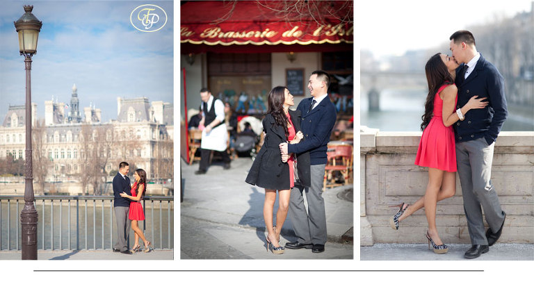 paris couple photography - café and city hall