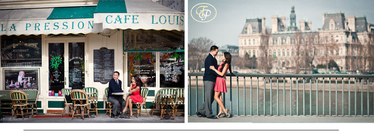 paris engagement photographer - café and city hall