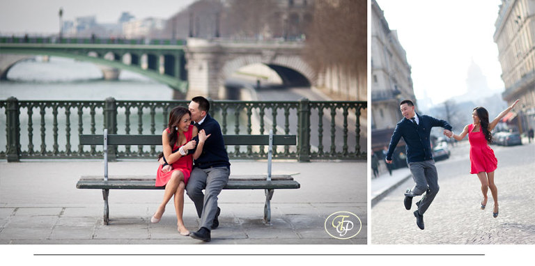 paris engagement photographer - bridge