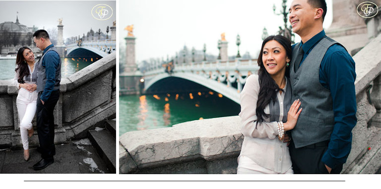 couple engagement photography - bridge in paris