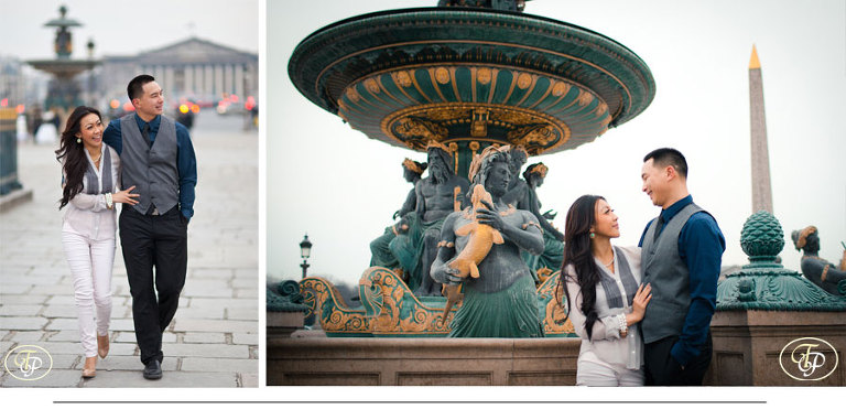 couple photography - fountain in paris