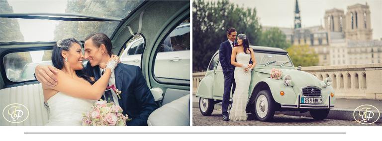 Paris elopement with old citroen 2CV car - Pierre Paris Photographer