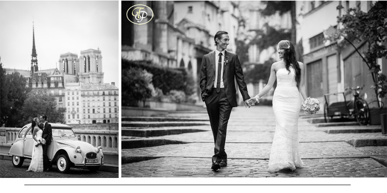 black and white pictures of wedding in Paris - by Pierre Photographer in Paris