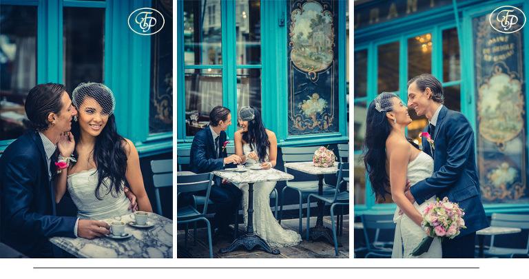 Bride at a café in Paris - Pierre Paris Photographer