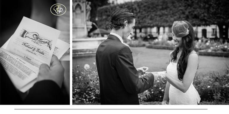 Elopement wedding ceremony in a park in Paris - paris-photographer.net