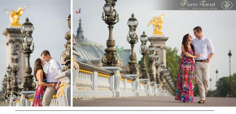 Couple at Alexandre III bridge in Paris