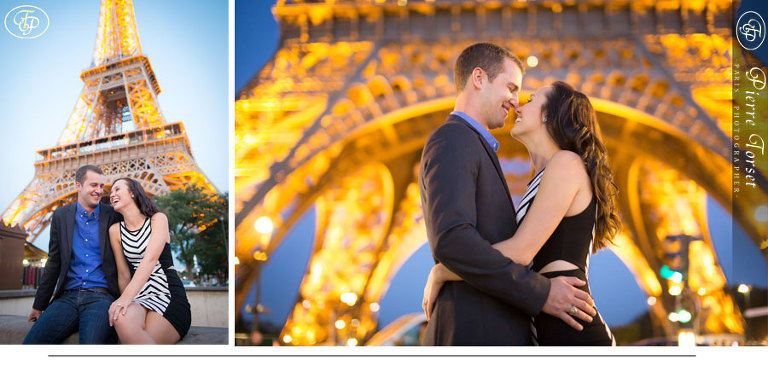 Engagement CCouple photo at Eiffel Tower by night