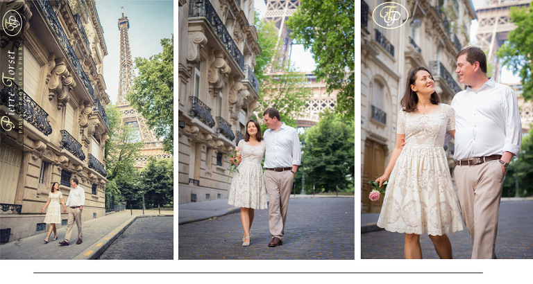Couple with street view of Eiffel Tower