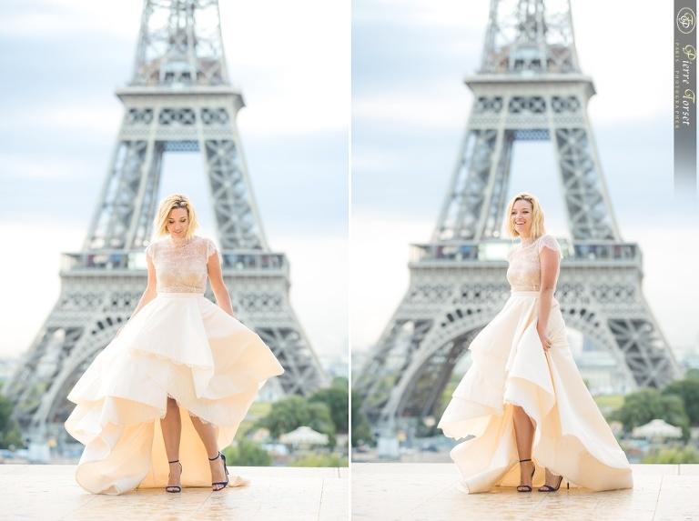 Bride at Eiffel Tower