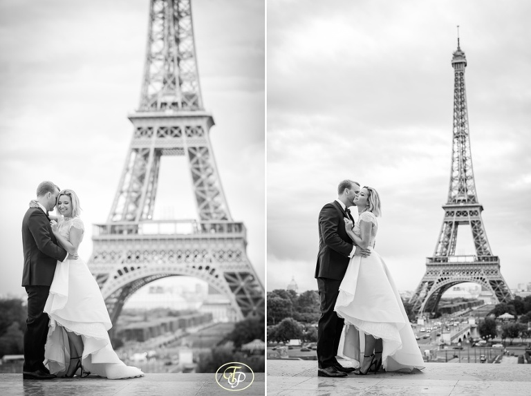 Bride and groom in Paris - black and white picture