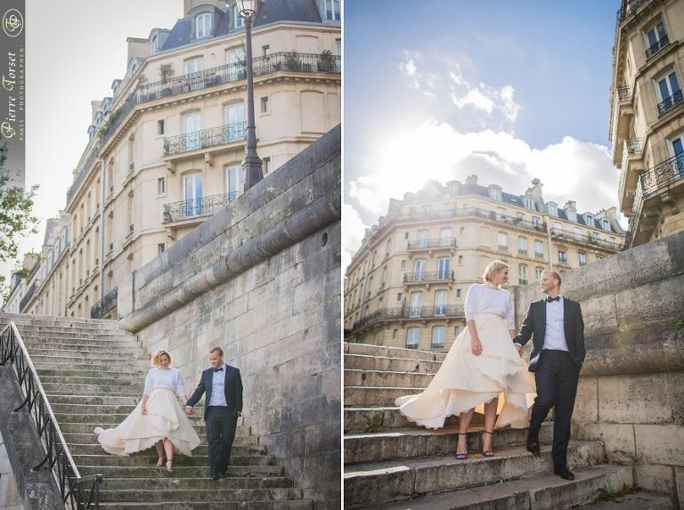 Bride on stairs in Paris