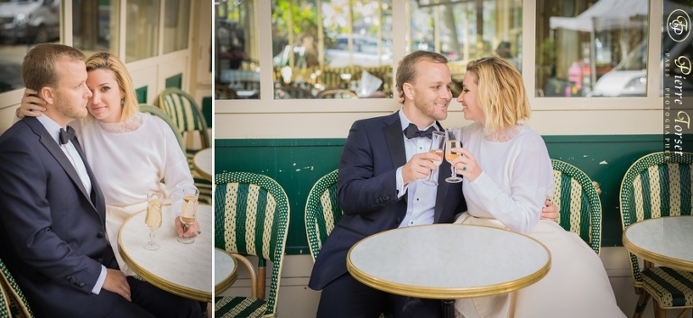 Wedding pictures at a café in Paris