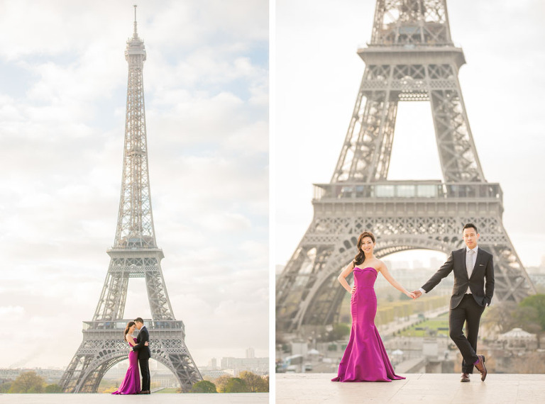 Engagement photoshoot pictures in Paris - Couple at Eiffel Tower