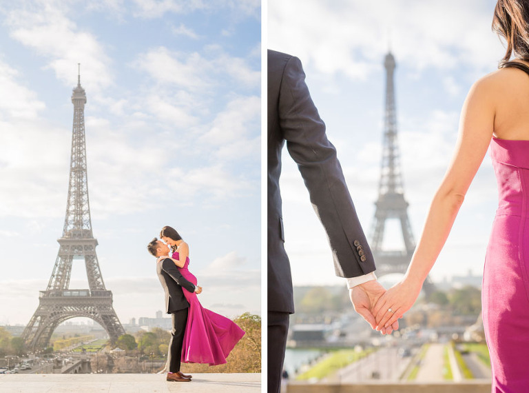 Engagement photo session in Paris at Eiffel Tower - hand in hand showing the engagement ring