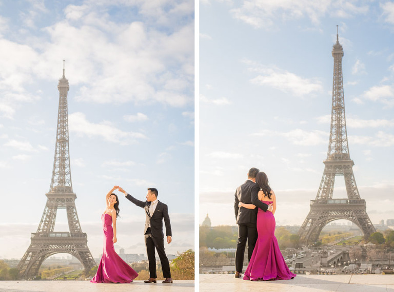 Couple dancing in front of the Eiffel Tower for their engagement photoshoot in paris France
