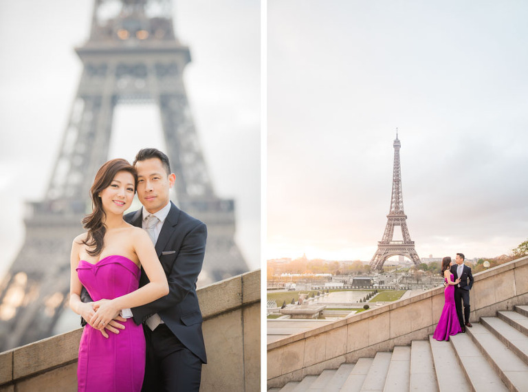 Couple at staircase in Trocadero for their engagement in Paris