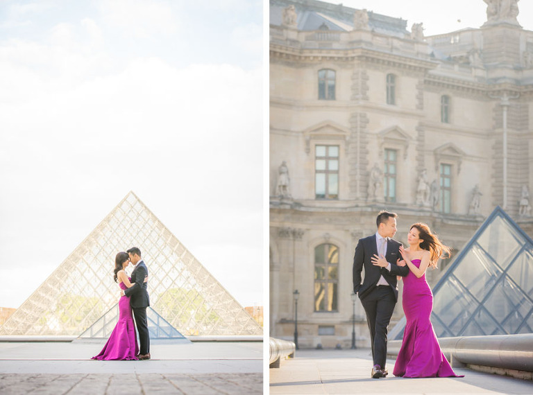 Engagement photos in Paris at Louvre pyramid - by Pierre Paris Photographer