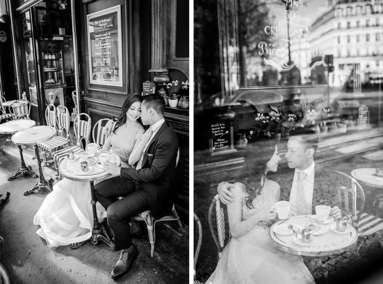Black and white engagement pictures of a couple sitting at a café in Paris