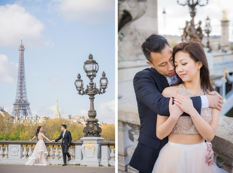 Alexandre III bridge is perfect for engagement photoshoots in Paris