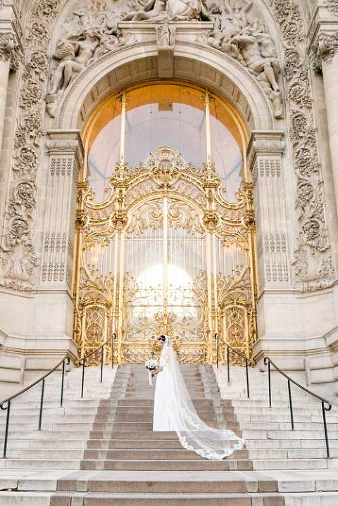 Paris wedding portrait of bride at Golden gate