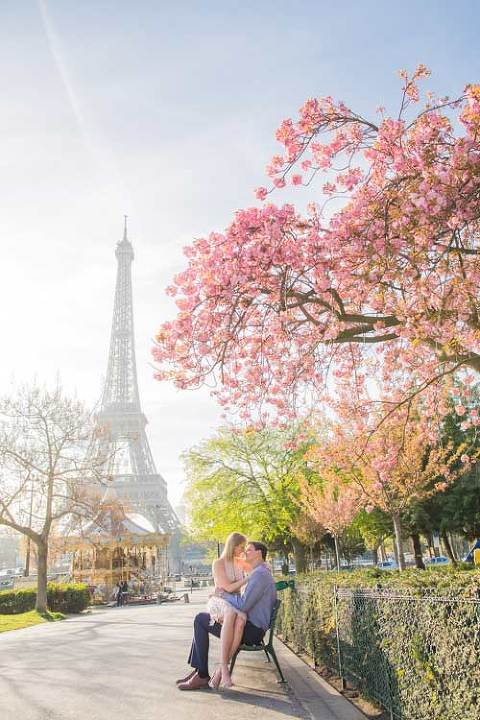 Eiffel Tower Cherry Blossom Photoshoot