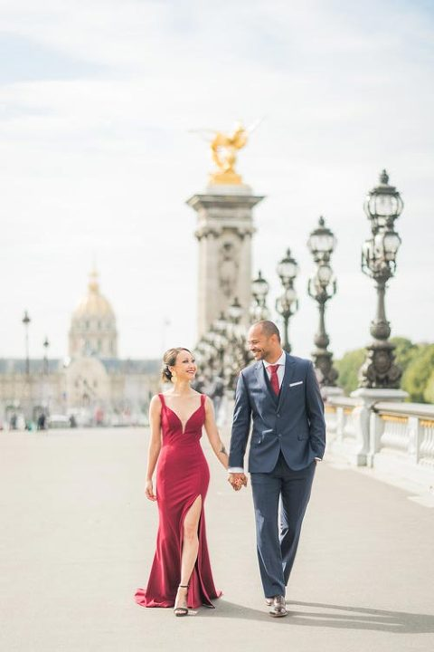 engagement photo session bridge paris