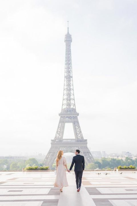 paris trocadero engagement photoshoot