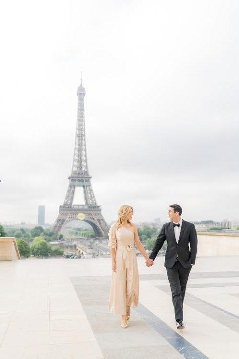 trocadero engagement photo session