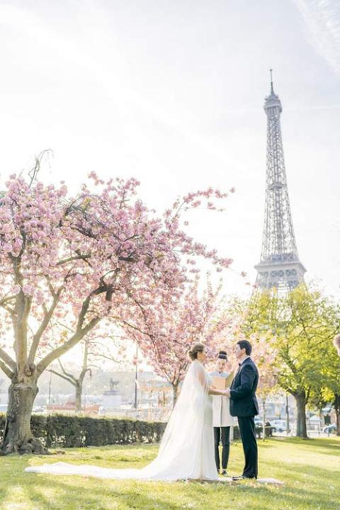 elopement paris cherry blossom
