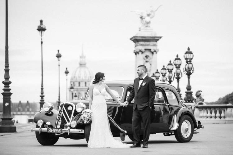 paris elopement vintage car