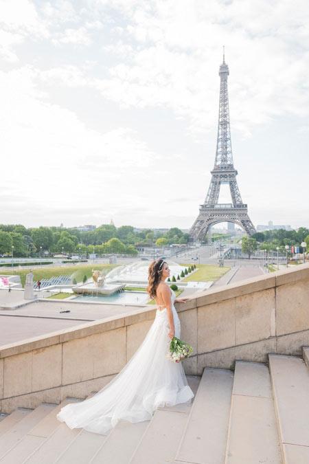 bride trocadero stairs