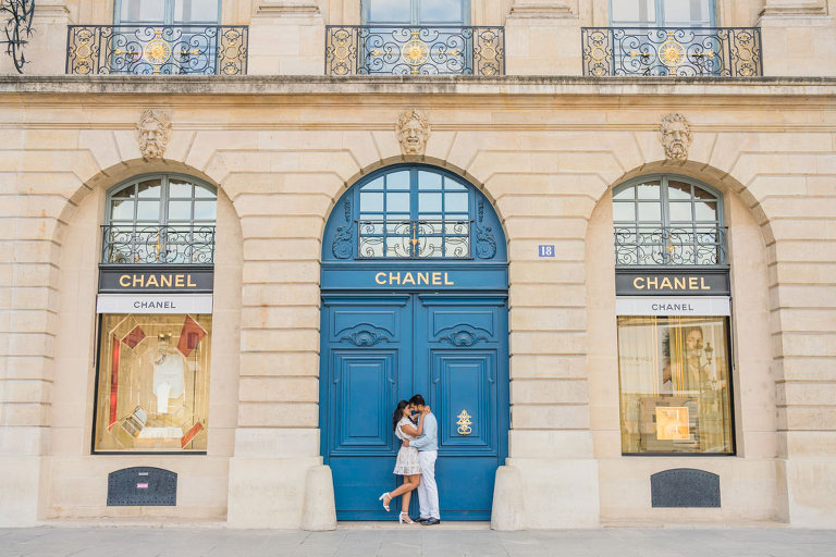 Couple photoshoot at Chanel Shop in Paris