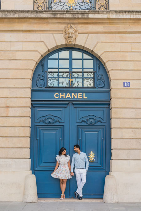 Couple photoshoot at Chanel in Paris