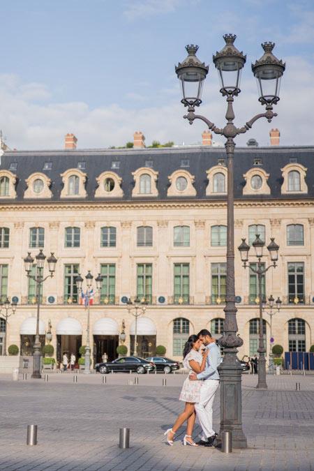 Couple photoshoot at Vendome square in Paris