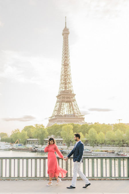 Eiffel Tower from bridge during photo session (couple)