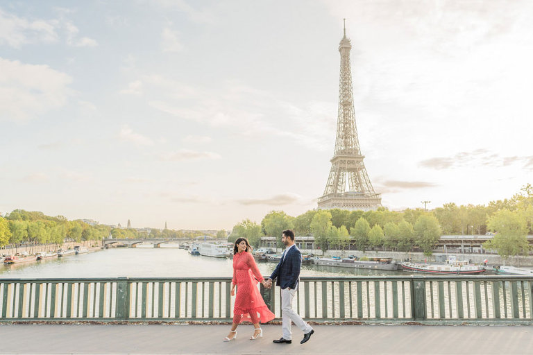 Couple photoshoot at EIffel Tower (from bridge/river)