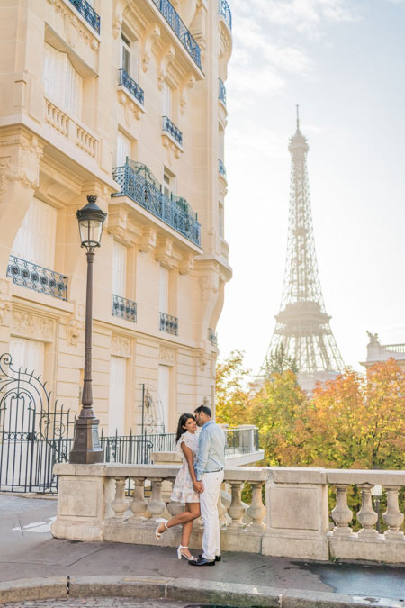 Couple photoshoot at building near Eiffel Tower in Paris