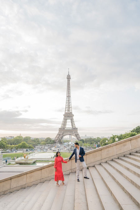 Eiffel tower stairs with couple photo session