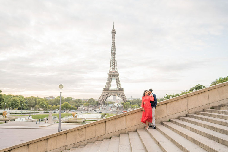 Eiffel tower stairs with couple photoshoot in Paris