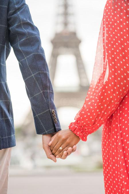Engagement photoshoot of couple at Eiffel Tower, Paris