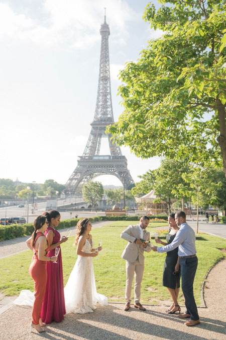 eiffel tower wedding champagne
