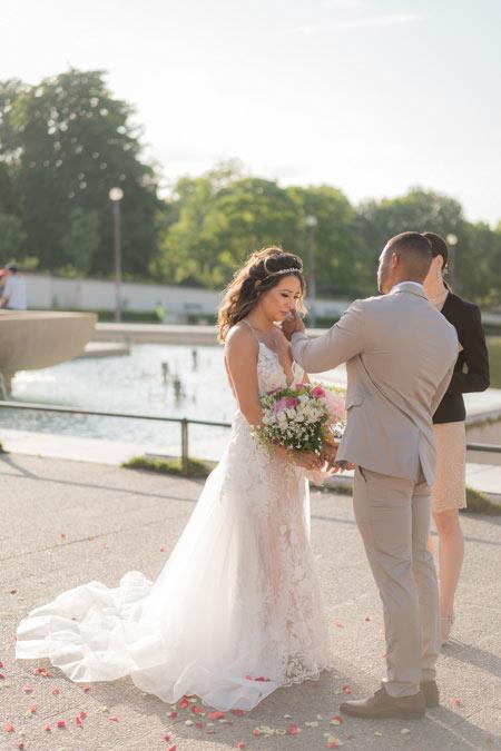 emotional moment wedding paris