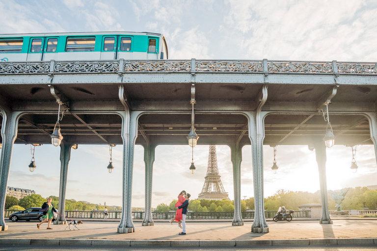 Couple in Paris at Inception bridge