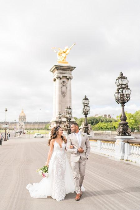 paris bridge wedding photo