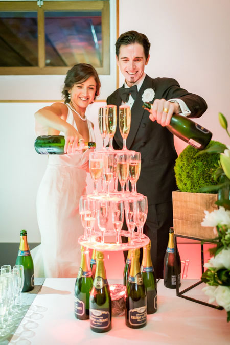 wedding paris champagne fountain
