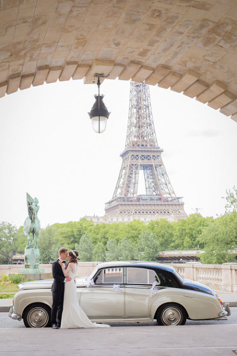 Classic vintage car paris elopement