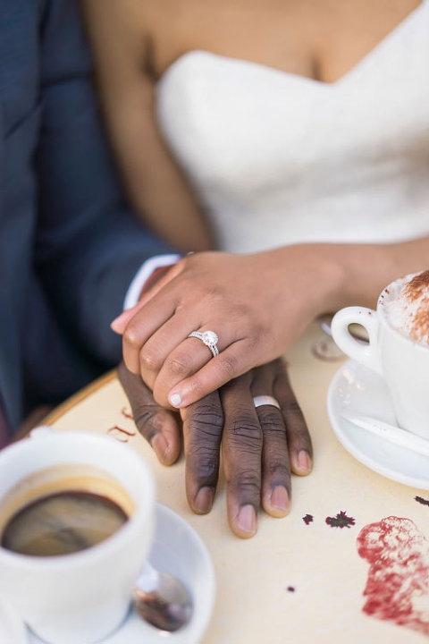 Paris elopement ring close up