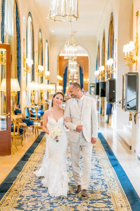 ritz paris hallway wedding photo